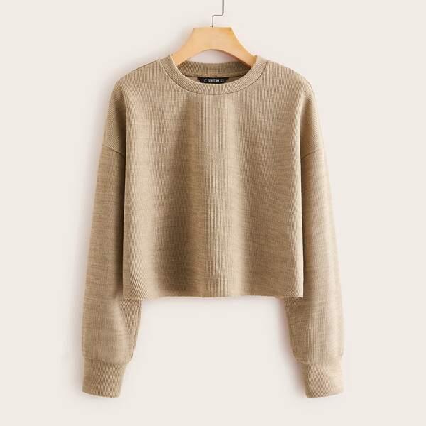 Drop Shoulder Rib-knit Top, Khaki pastel