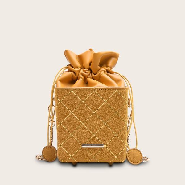 Mini Stitch Detail Drawstring Chain Bag, Yellow