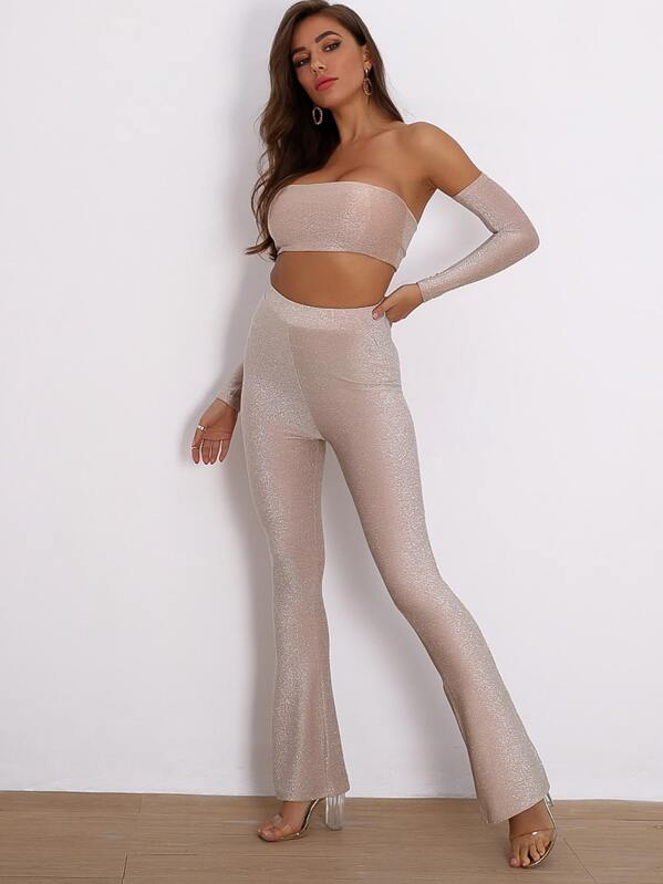 Joyfunear Removable Sleeve Glitter Tube Top And Pants Set, Nude, Hanna