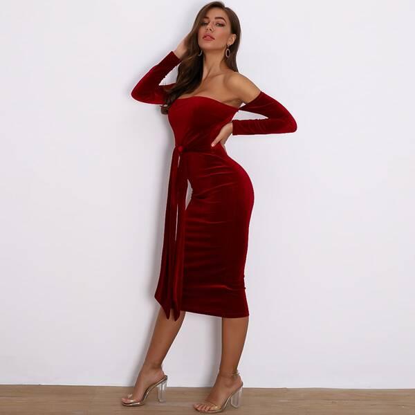 Joyfunear Off Shoulder Tie Waist Velvet Bodycon Dress, Burgundy