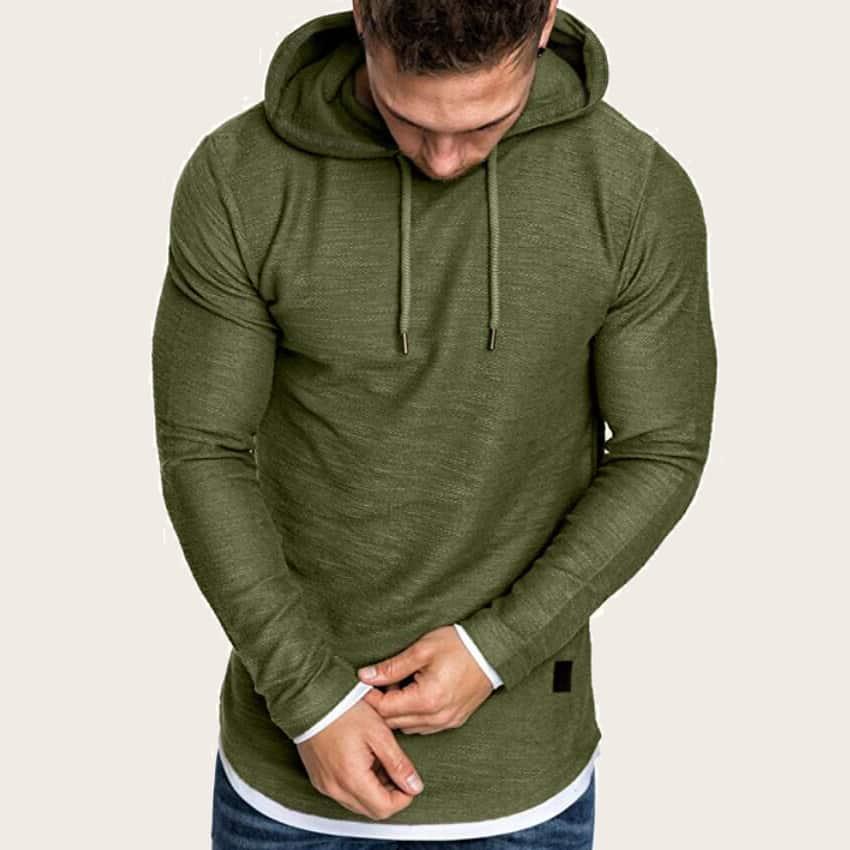 Leger groen Casual Koord Vlak Sweatshirts voor heren
