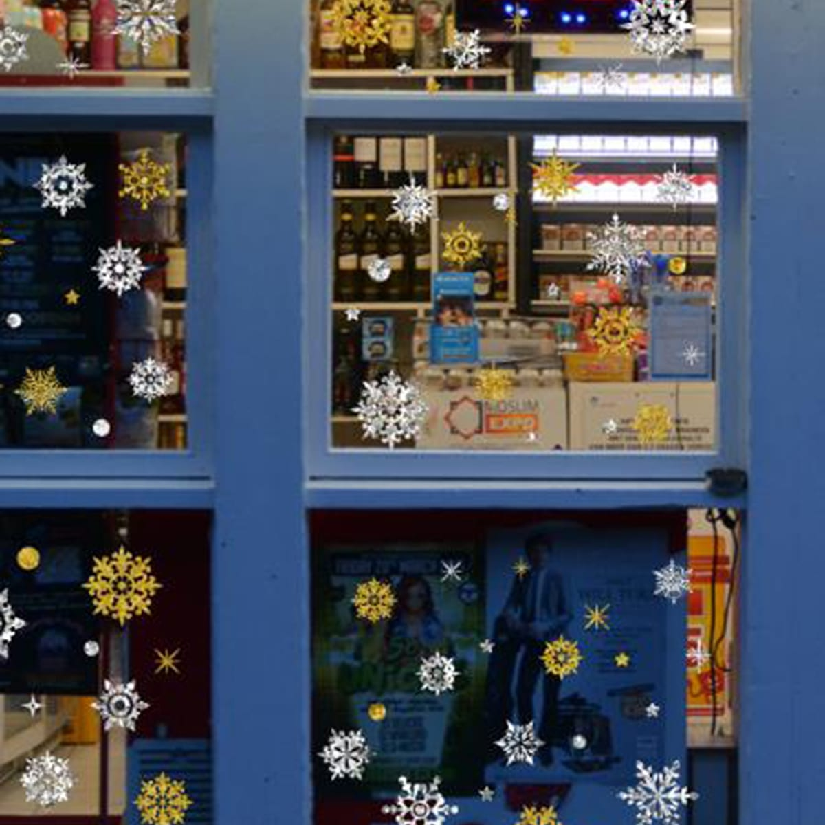 1pc kerst sneeuwvlok print muursticker