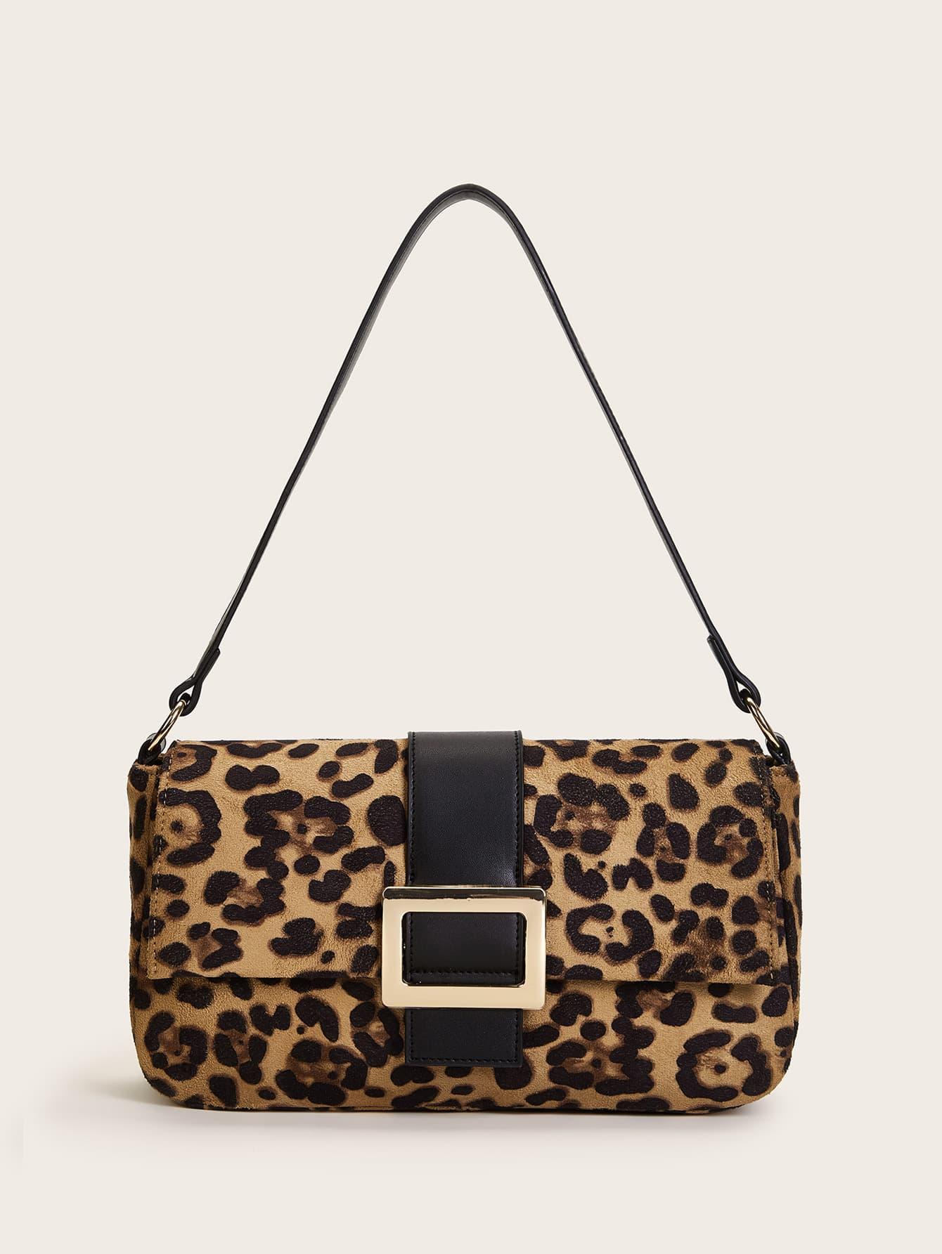 Леопардовая замшевая сумка-бакет