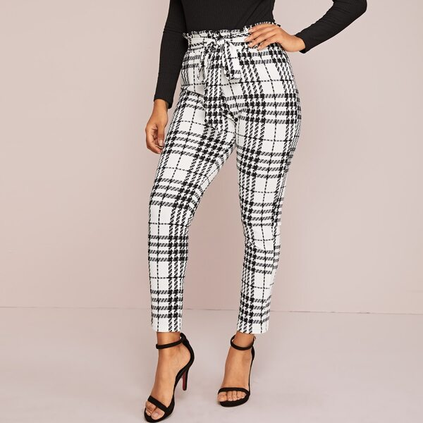 Paperbag Waist Belted Plaid Pants, Black and white