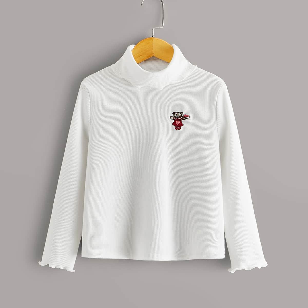SHEIN / Mädchen Strick T-Shirt mit Karikatur Stickereien