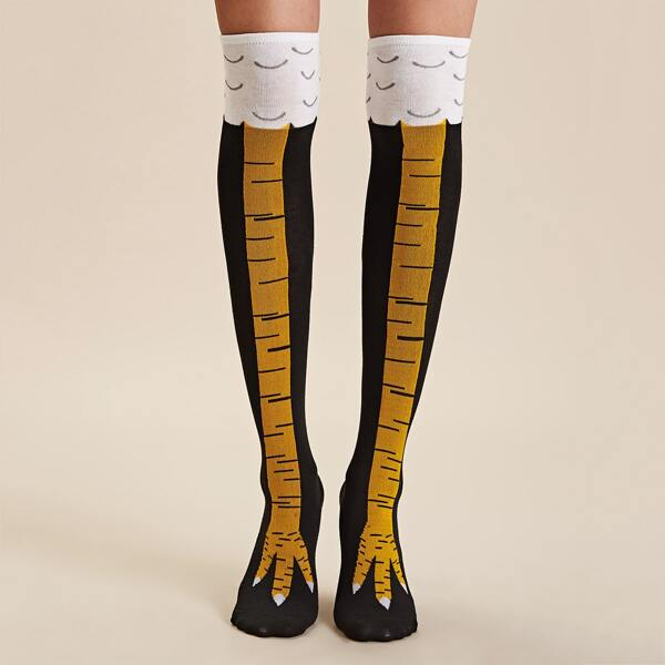 1pair Over The Knee Socks, Black