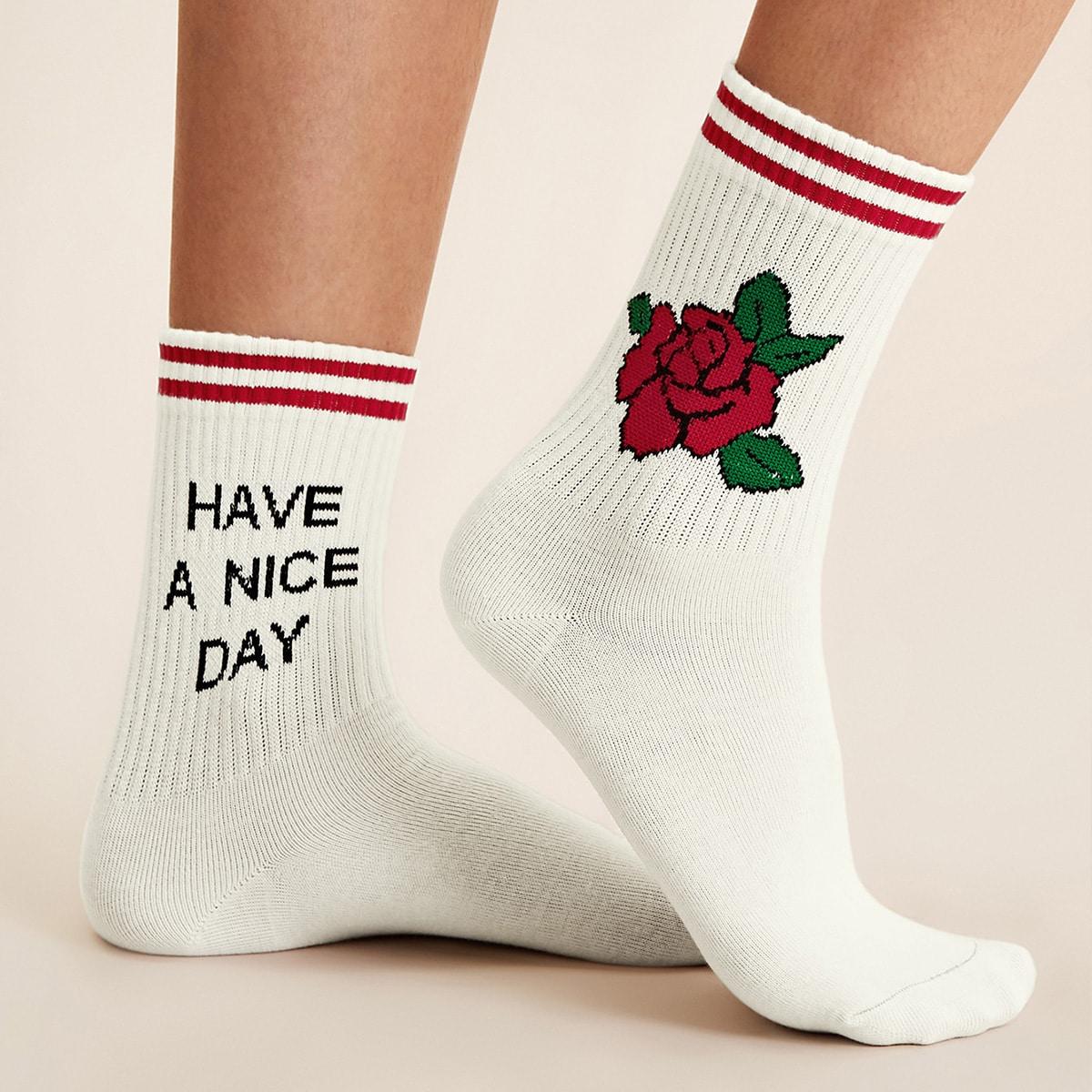 SHEIN / 1 Paare Buchstaben & Rose Muster Socken