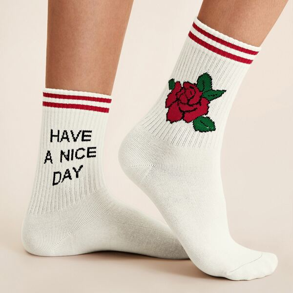 1pair Slogan & Rose Pattern Socks, White