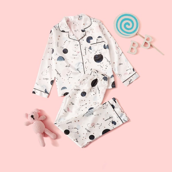 Girls Galaxy Button-up Satin PJ Set, White