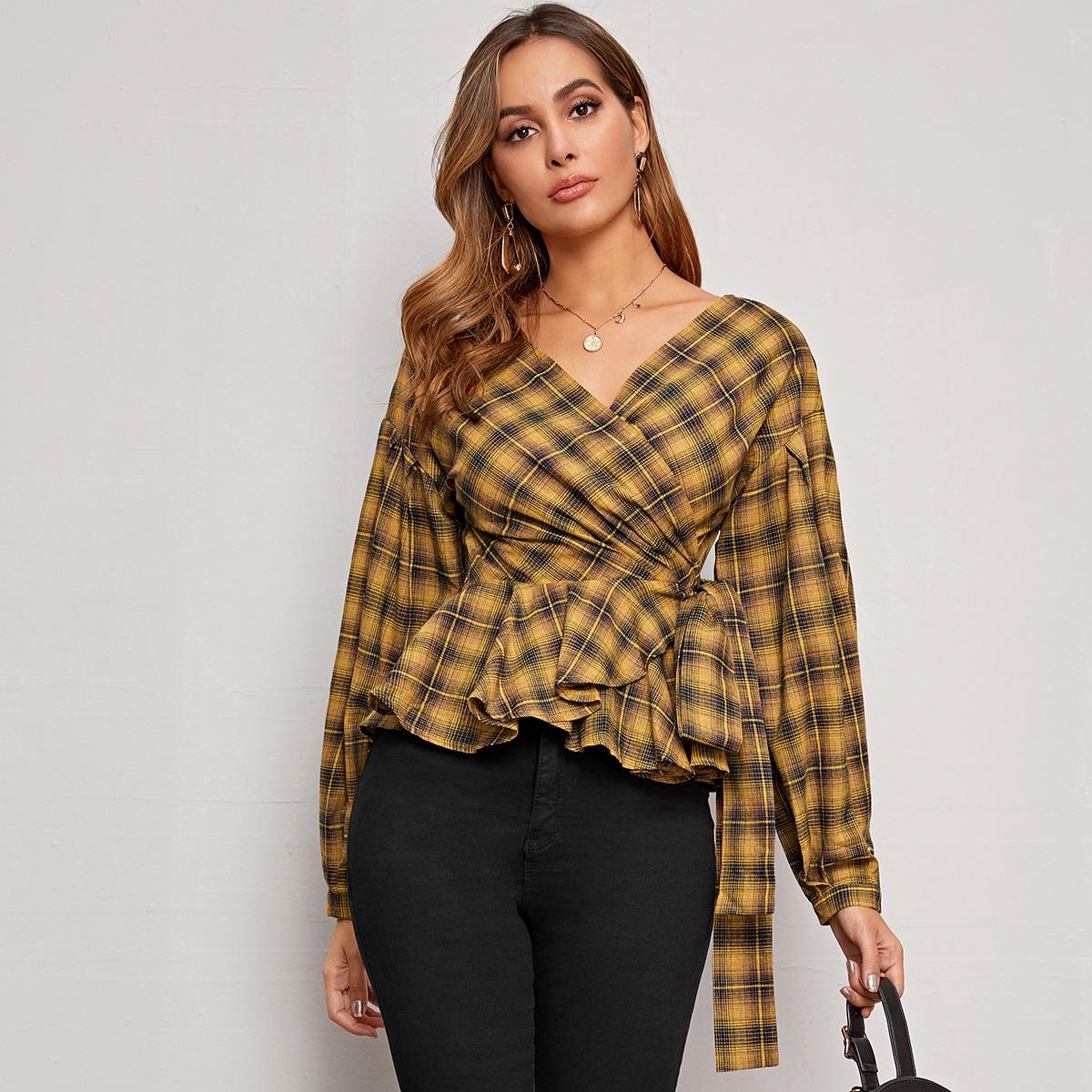 SHEIN / Bluse mit Muster und Knoten