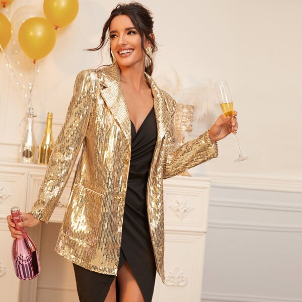 Notched Collar Single Breasted Sequin Blazer, Gold