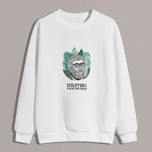 Men Letter & Figure Graphic Sweatshirt, White