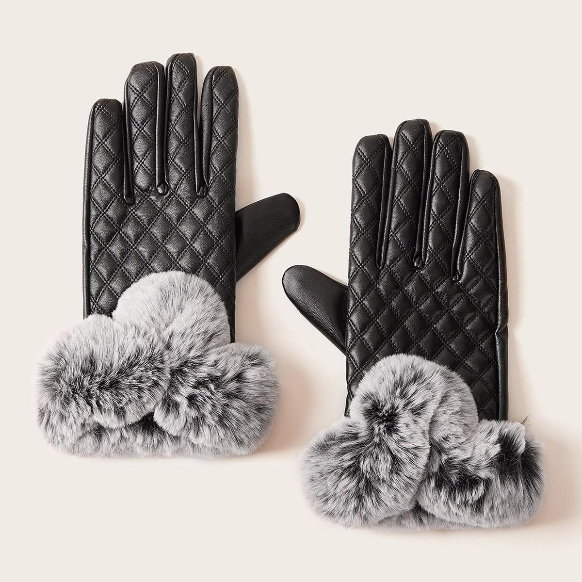 Сшитые перчатки с плюшевым помпоном 1 пара от SHEIN