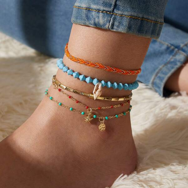 5pcs Shell Charm Braided Anklet, Multicolor