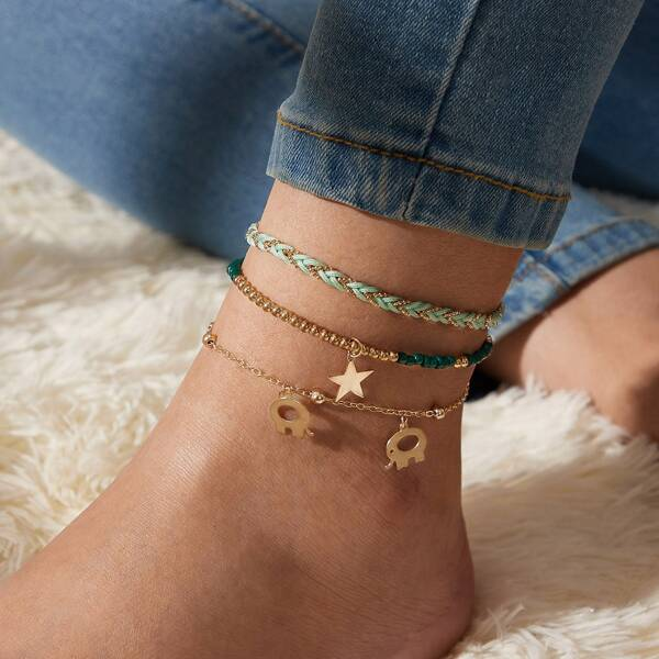 3pcs Star Charm Beaded Anklet Set, Multicolor