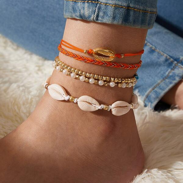 5pcs Shell Charm Anklet Set, Multicolor