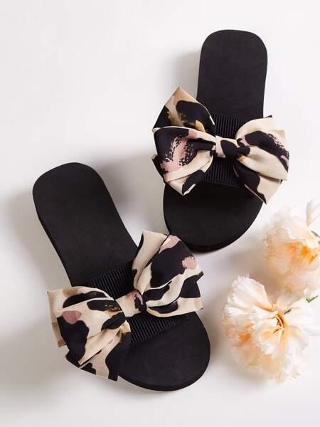 Open Toe Bow Decor Sliders
