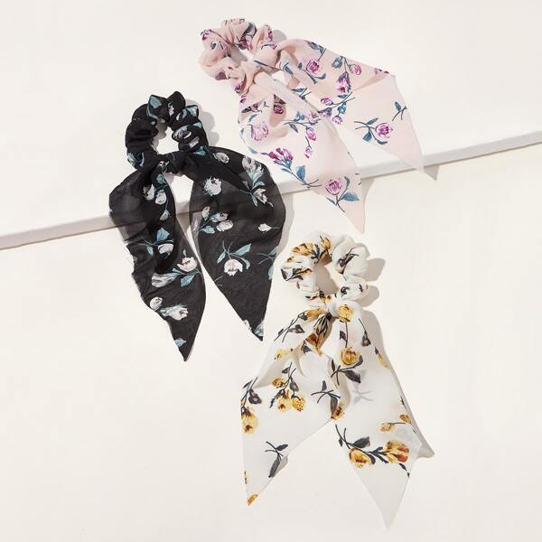 3pcs Ditsy Floral Pattern Scrunchie Scarf, Multicolor