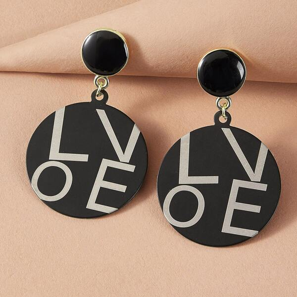 1pair Letter Graphic Round Drop Earrings, Black