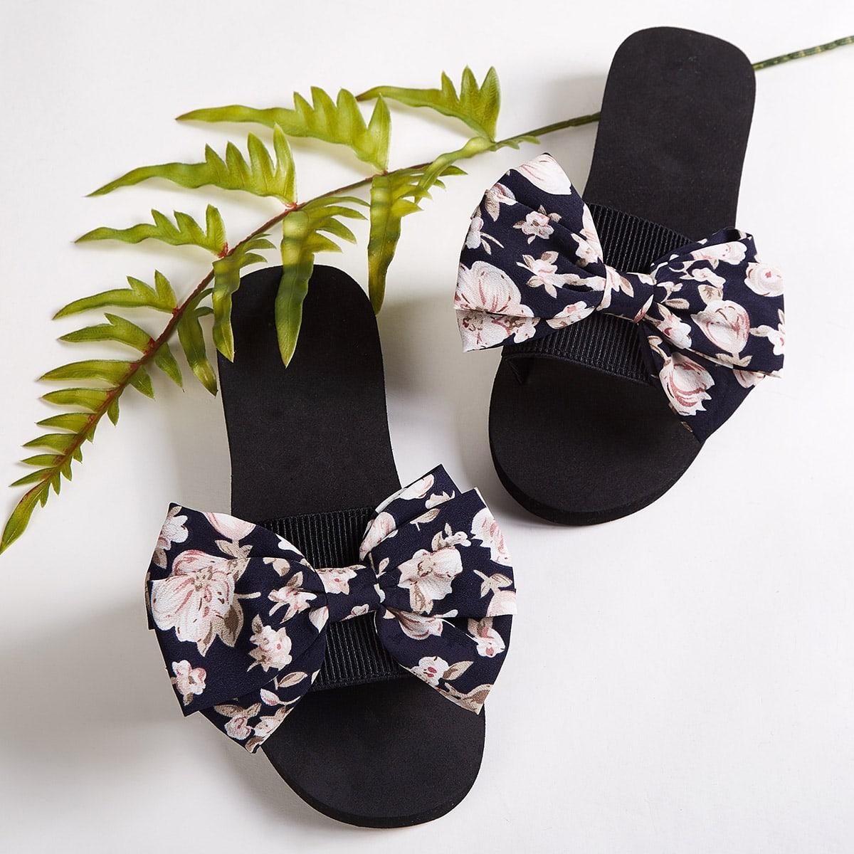 Тапочки с бантом и открытым носком от SHEIN