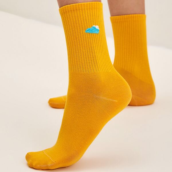 1pair Cloud Pattern Socks, Yellow
