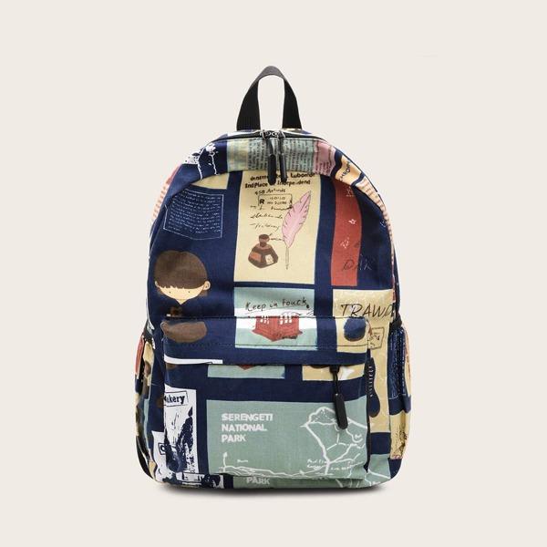 Random Graphic Pocket Front Backpack, Multicolor
