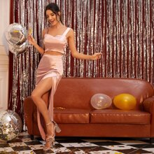 Bustier Tank Top & Ruched Split Thigh Satin Skirt Set