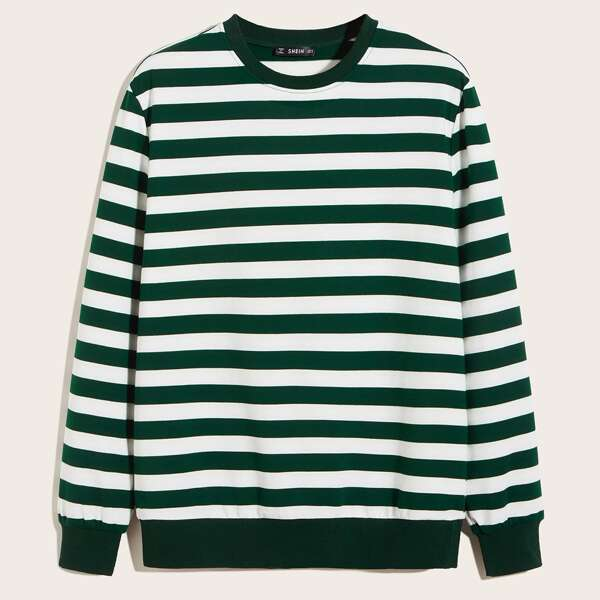 Men Two Tone Striped Pullover, Green