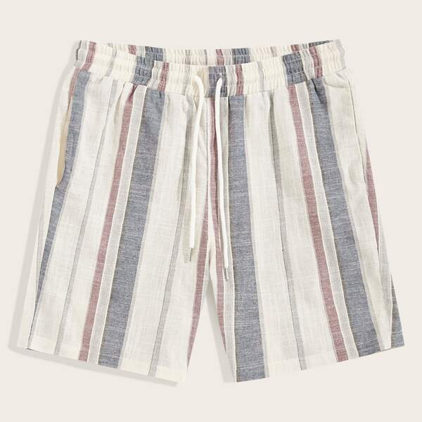 Men Pocket Patched Back Striped Shorts, Multicolor