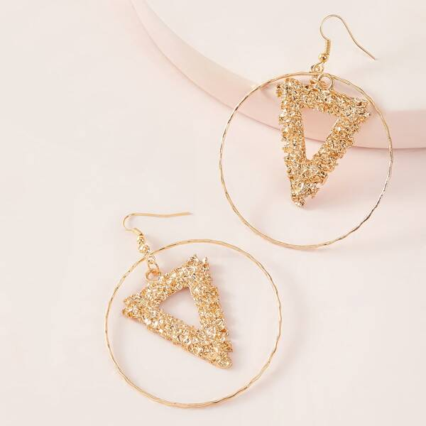 1pair Ring & Textured Triangle Drop Earrings, Gold