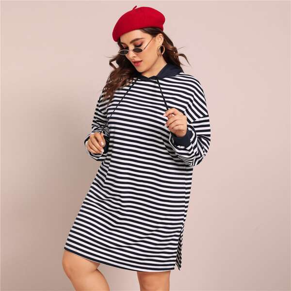 Plus Drop Shoulder Split Hem Striped Hoodie Dress, Navy