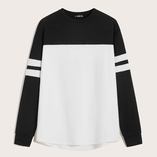 Men Varsity Striped Sleeve Two Tone Sweatshirt, Black and white