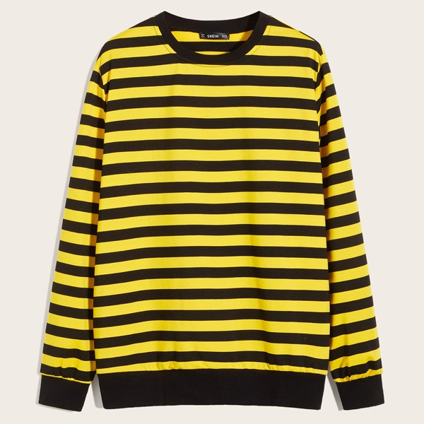 Men Two Tone Striped Pullover, Yellow