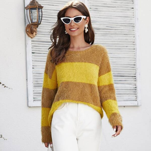 Drop Shoulder Two Tone Striped Fuzzy Sweater, Multicolor