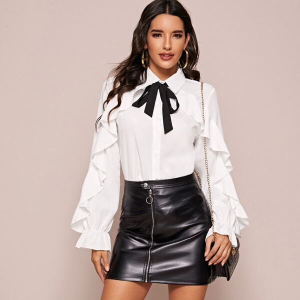 Contrast Tie Neck Ruffle Trim Blouse, White