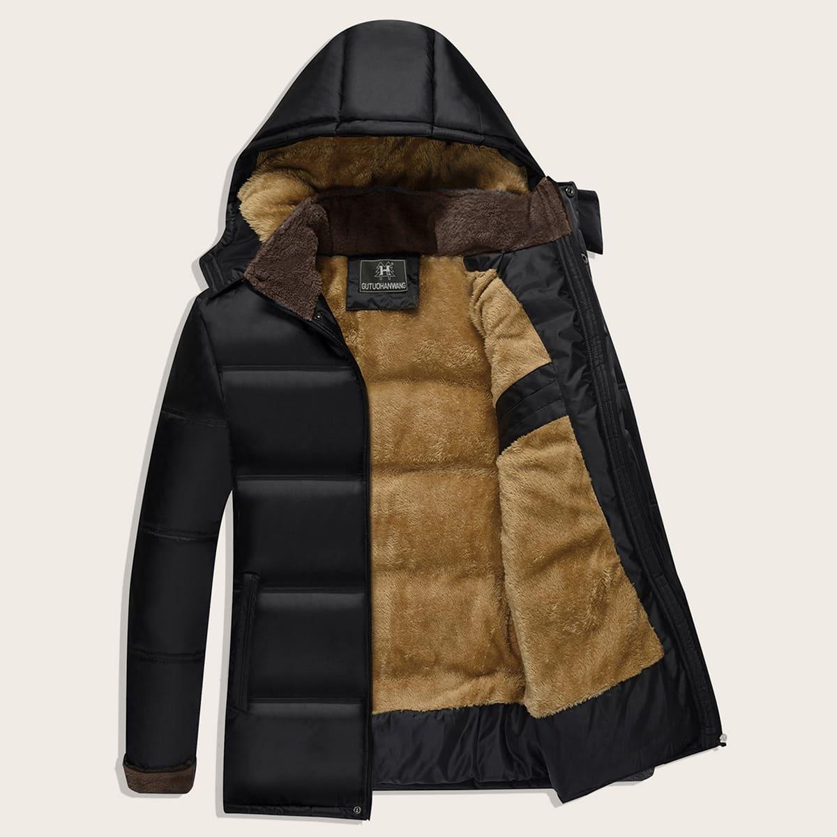 Men Sherpa Lined Hooded Padded Jacket