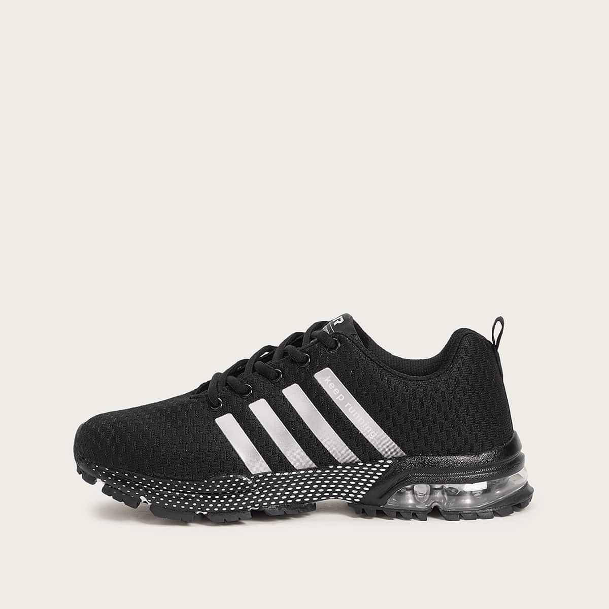 Zwart Comfortabel Gestreept Heren sneakers