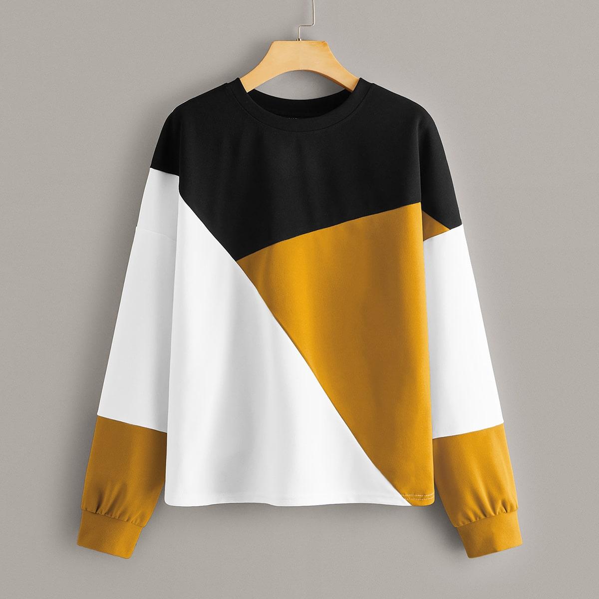 Стильный контрастный пуловер