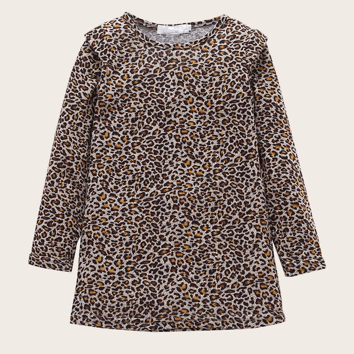 Леопардовое платье-футболка для девочек от SHEIN