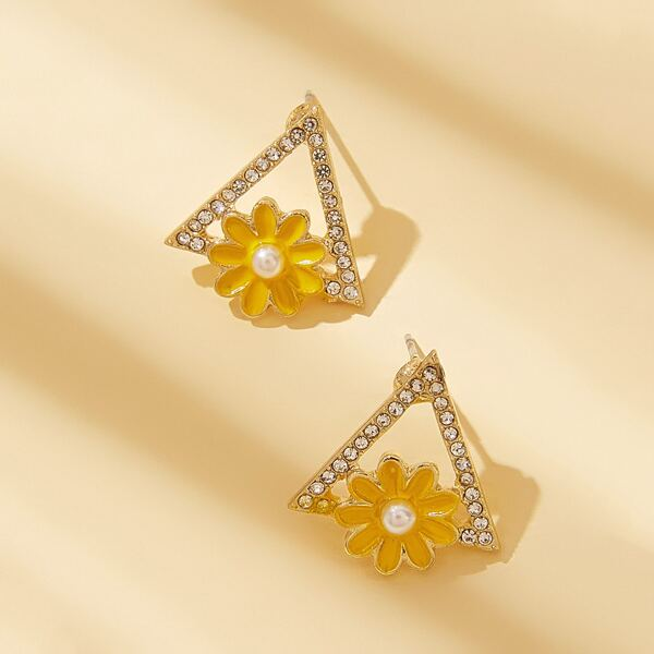 1pair Flower & Rhinestone Decor Triangle Earrings, Gold