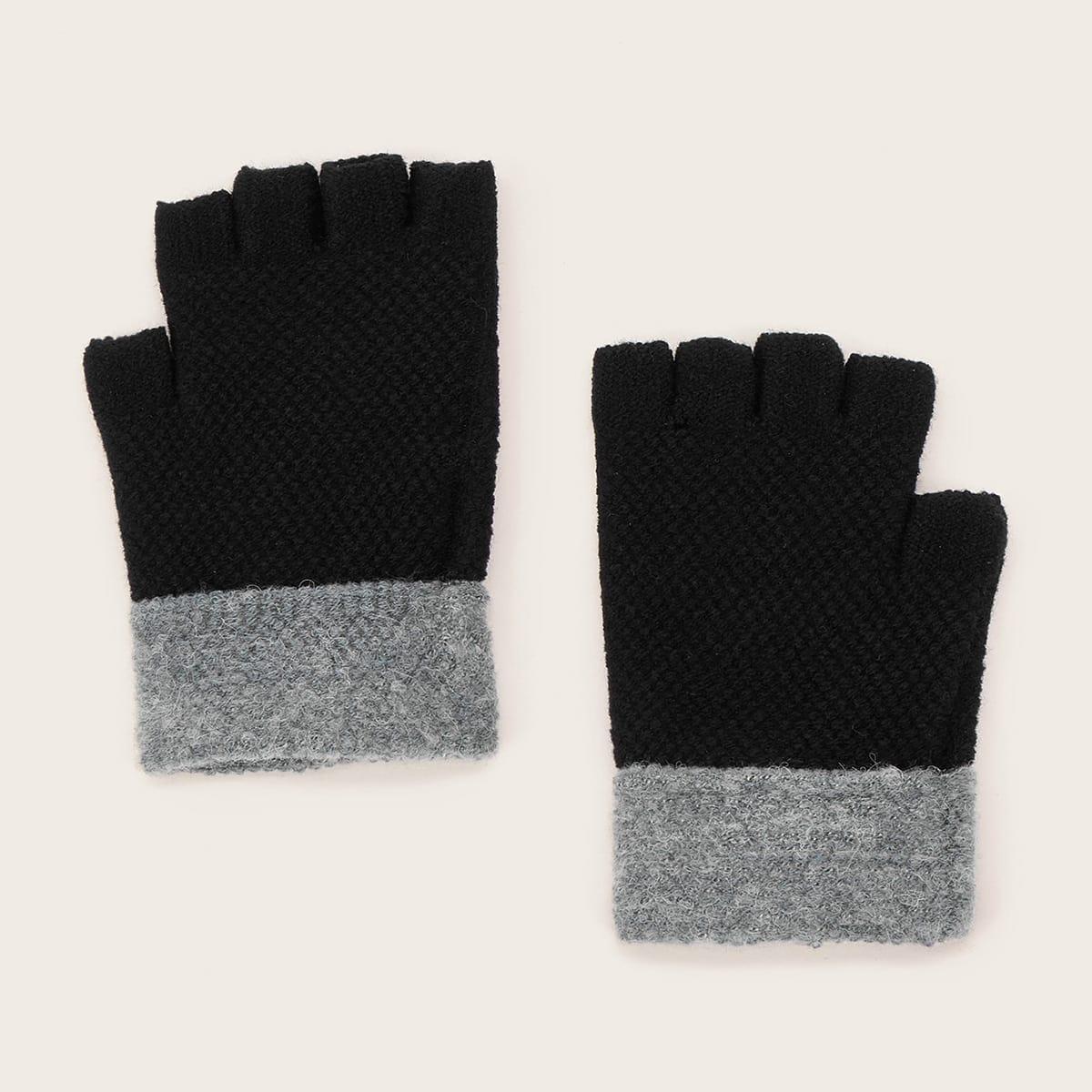 1 paar heren kleurblok gebreide open vingerhandschoenen