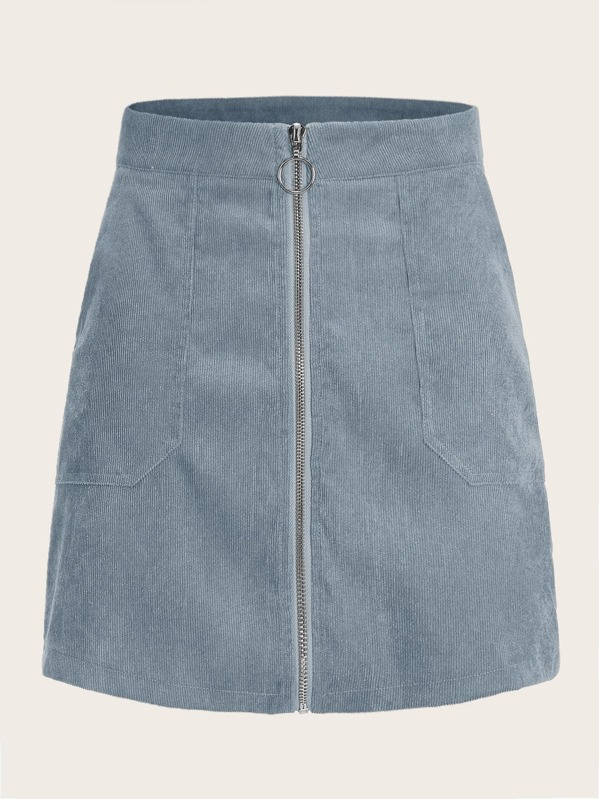 O-ring Zip Up Pocket Side Corduroy Skirt, Blue