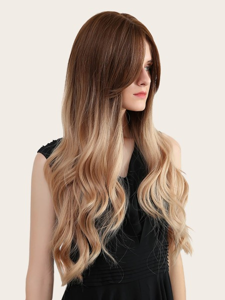 Natural Long Curly Wig With Middle Bang