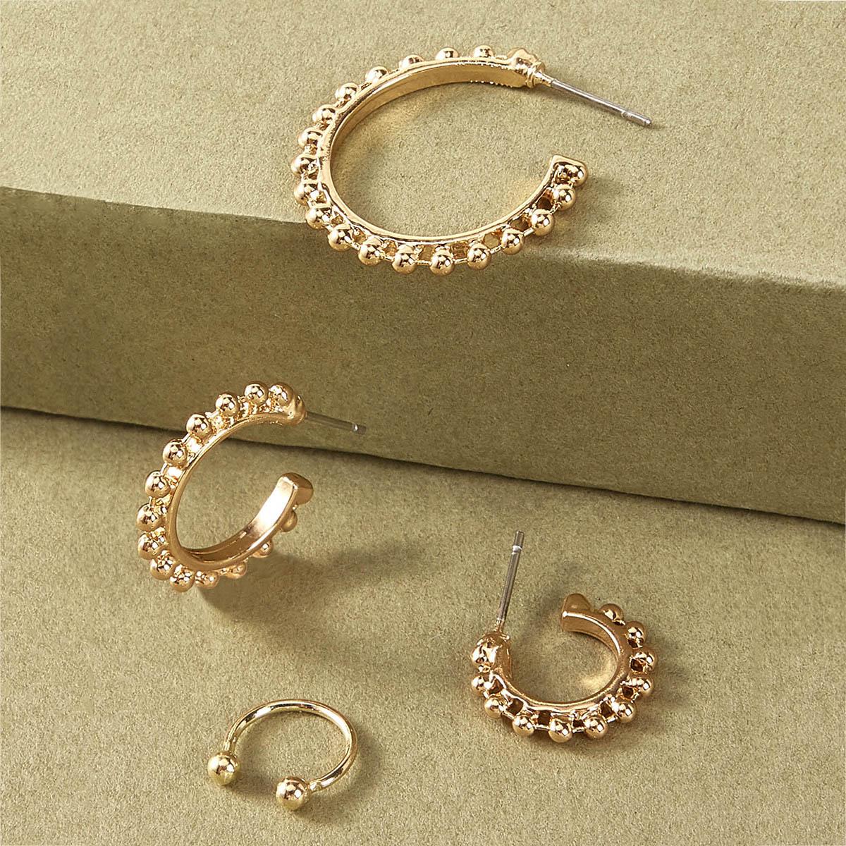 Серьги-кольца с бусами 4шт от SHEIN