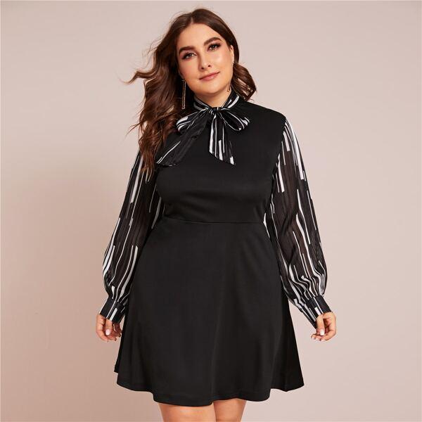 Plus Striped Tie Neck A-line Dress, Black