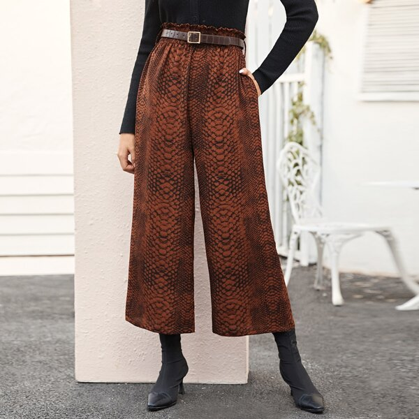 Snakeskin Paperbag Waist Belted Wide Leg Pants, Brown