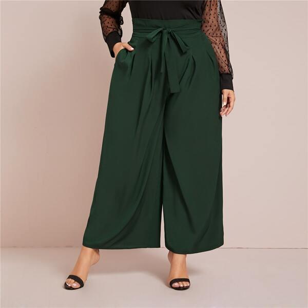 Plus Pocket Belted Wide Leg Pants, Green