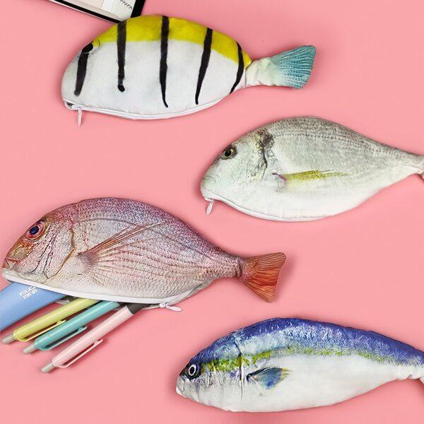 1pc Simulated Fish Shaped Pencil Bag