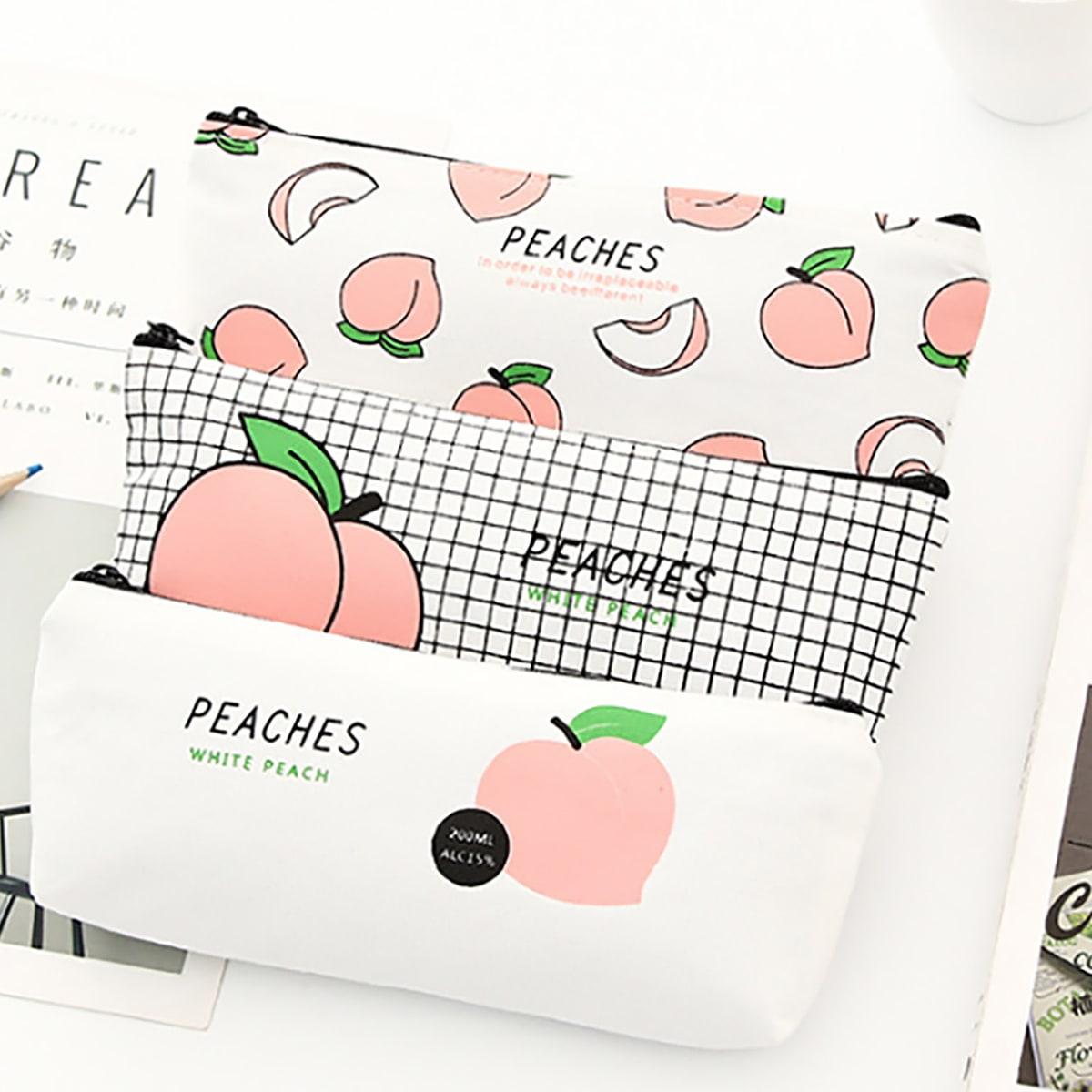 1pc Peach Print Pencil Bag