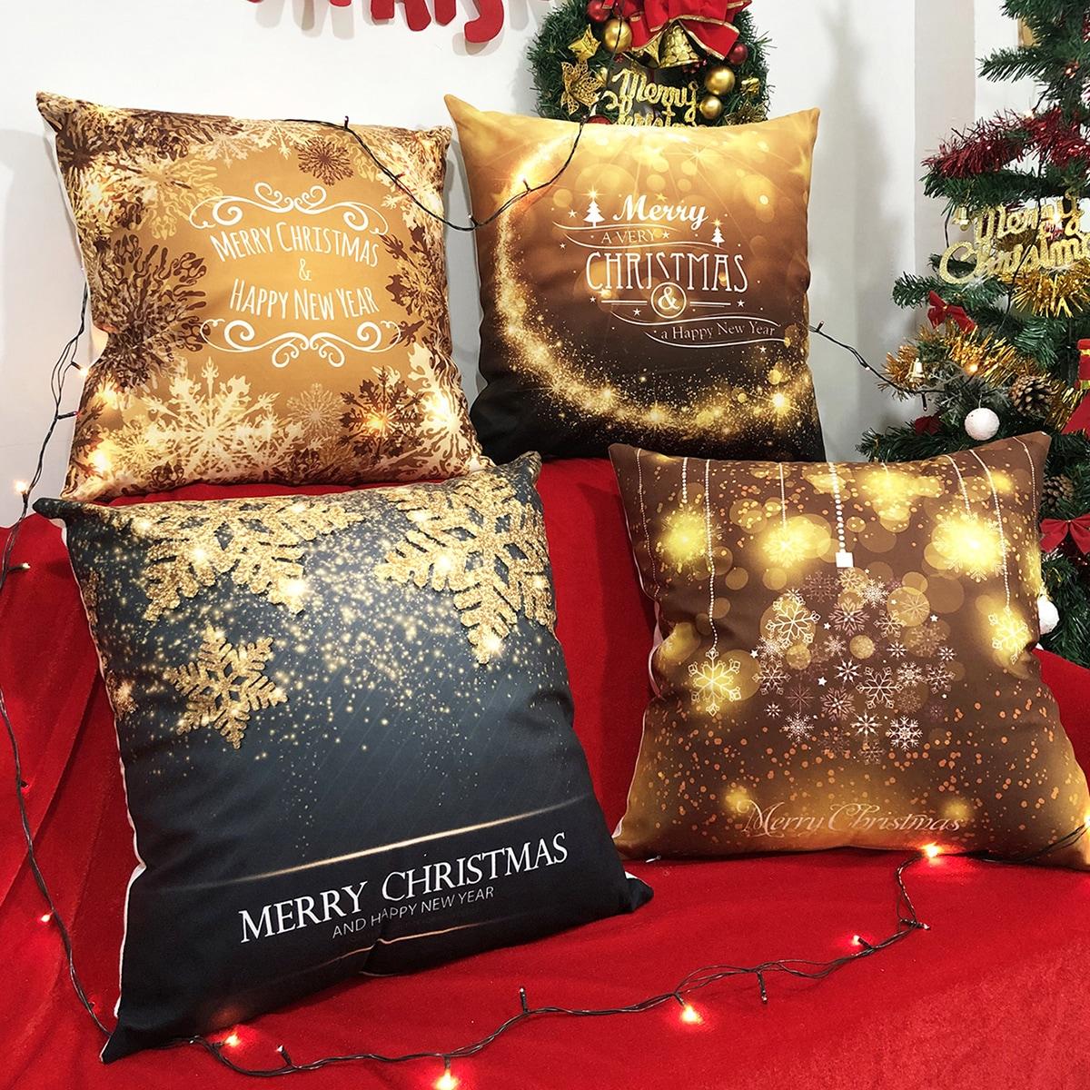 1pc Christmas Print kussenhoes zonder vuller